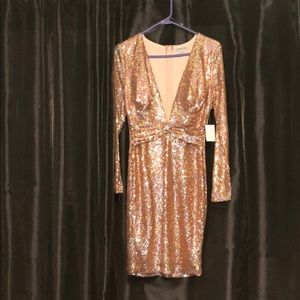 Holographic rose gold plunging dress